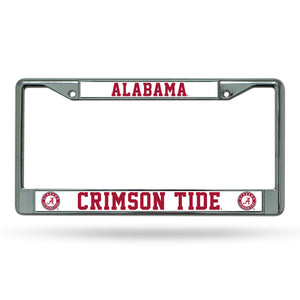 NCAA fan gear Alabama Crimson Tide chrome license plate frame from Sports Fanz