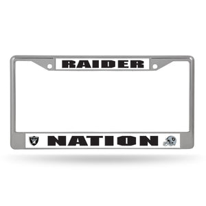 Oakland Raiders, Raiders Nation Chrome License Plate Frame