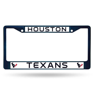 Houston Texans Navy Color Chrome License Plate Frame