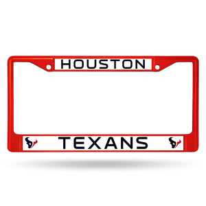Houston Texans Red Color Chrome License Plate Frame