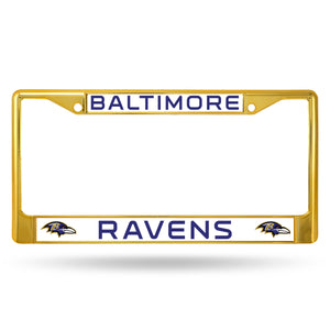 Baltimore Ravens Gold Color Chrome License Plate Frame