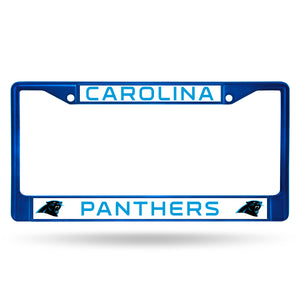 Carolina Panthers Blue Color Chrome License Plate Frame
