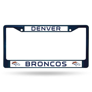Denver Broncos Navy Color Chrome License Plate Frame