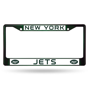 New York Jets Dark Green Color Chrome License Plate Frame