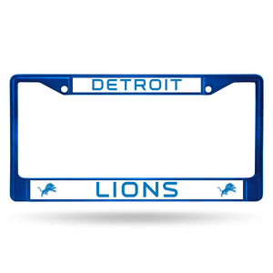 Detroit Lions Blue Color Chrome License Plate Frame