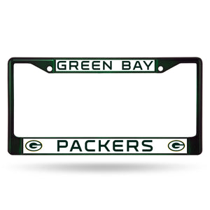 Green Bay Packers Dark Green Color Chrome License Plate Frame