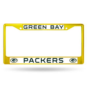 Green Bay Packers Yellow Color Chrome License Plate Frame