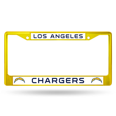 Los Angeles Chargers Yellow Color Chrome License Plate Frame