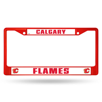 Calgary Flames Red Color Chrome License Plate Frame