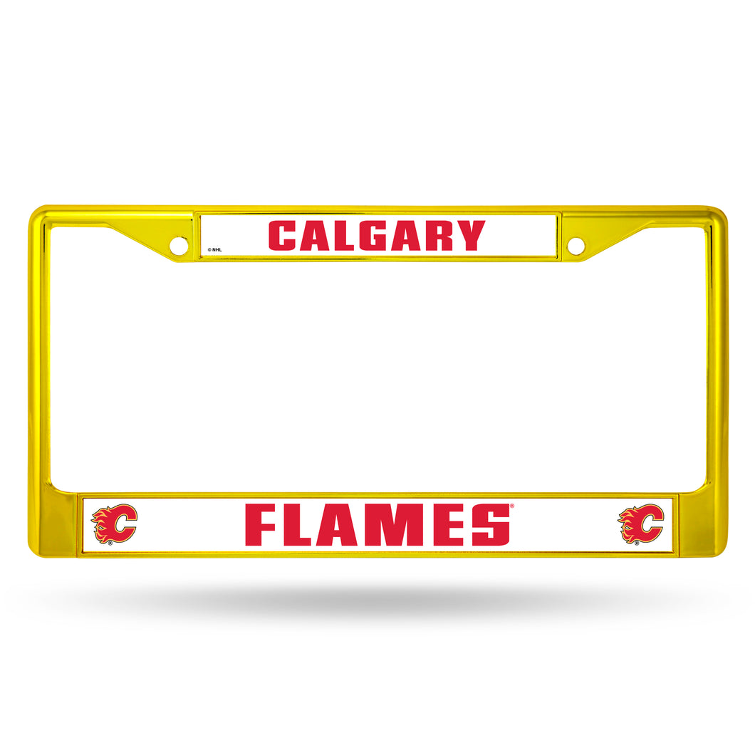 Calgary Flames Yellow Color Chrome License Plate Frame