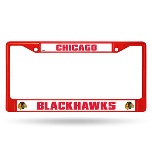 Chicago Blackhawks Red Color  Chrome License Plate Frame