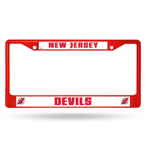 New Jersey Devils Red Color Chrome License Plate Frame
