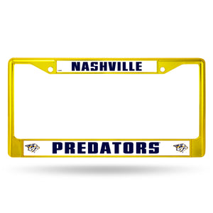 Nashville Predators Yellow Color Chrome License Plate Frame