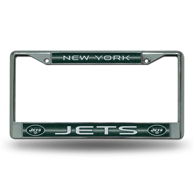 New York Jets Bling Chrome License Plate Frame