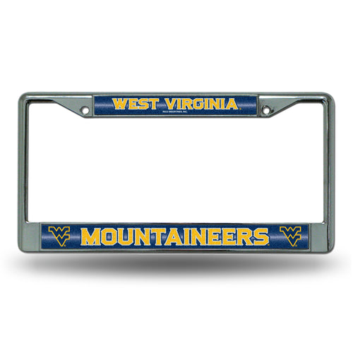 West Virginia Mountaineers Bling Chrome License Plate Frame