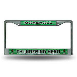 Marshall Thundering Herd Bling Chrome License Plate Frame