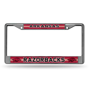 Arkansas Razorbacks Bling Chrome License Plate Frame