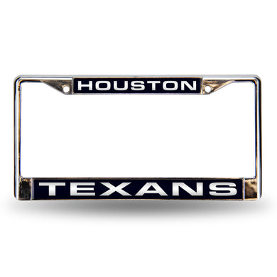 Houston Texans Blue Laser Chrome License Plate Frame