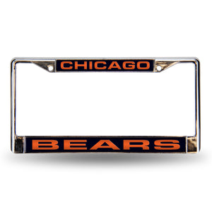 Chicago Bears Blue Laser Chrome License Plate Frame