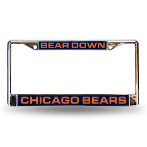 "Chicago Bears ""Bear Down"" Laser Chrome License Plate Frame"