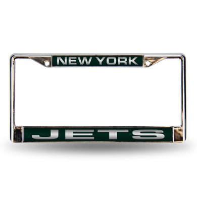 New York Jets Green Laser Chrome License Plate Frame
