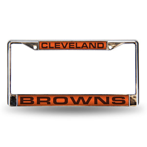 Cleveland Browns Orange Laser Chrome License Plate Frame