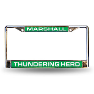 Marshall Thundering Herd Green Laser License Plate Frame