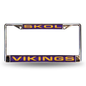 "Minnesota Vikings ""SKOL"" Laser Chrome License Plate Frame"