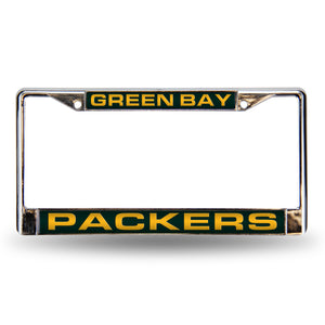 Green Bay Packers Green Laser Chrome License Plate Frame