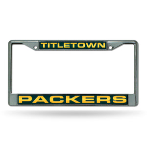"Green Bay Packers Titletown"" Laser Chrome License Plate Frame"