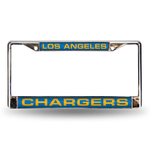 Los Angeles Chargers Light Blue Laser Chrome License Plate Frame