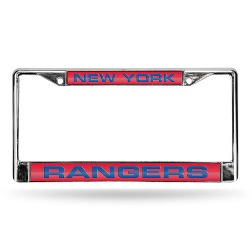 New York Rangers Red Laser Chrome License Plate Frame