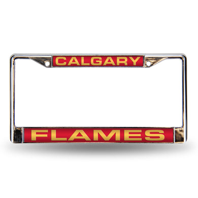 Calgary Flames Red Laser Chrome License Plate Frame