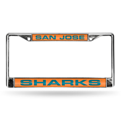 San Jose Sharks Orange Laser Chrome License Plate Frame