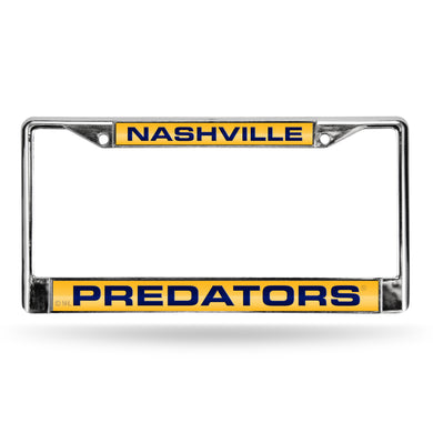 Nashville Predators Yellow Laser Chrome License Plate Frame