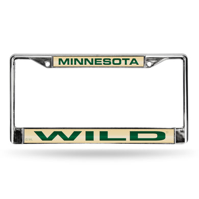 Minnesota Wild Tan Laser Chrome License Plate Frame