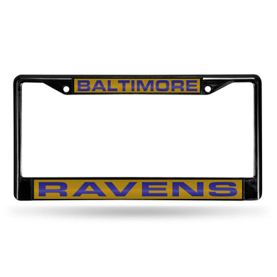 Baltimore Ravens Black Laser Chrome License Plate Frame