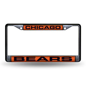 Chicago Bears Black Laser Chrome License Plate Frame