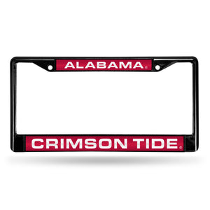 NCAA fan gear Alabama Crimson Tide black and red chrome license plate frame from Sports Fanz