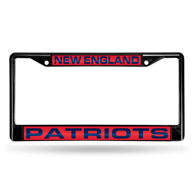 New England Patriots Black Laser Chrome License Plate Frame