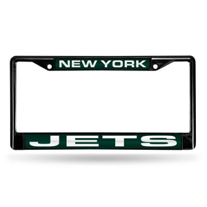 New York Jets Black Laser Chrome License Plate Frame
