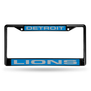Detroit Lions Black Laser Chrome License Plate Frame