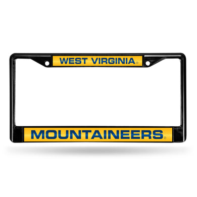 West Virginia Mountaineers Black Laser Chrome License Plate Frame