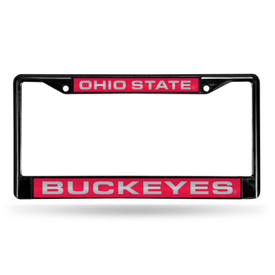 Ohio State Buckeyes Black Laser Chrome License Plate Frame