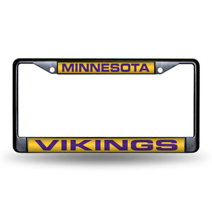 Minnesota Vikings Black Laser Chrome License Plate Frame
