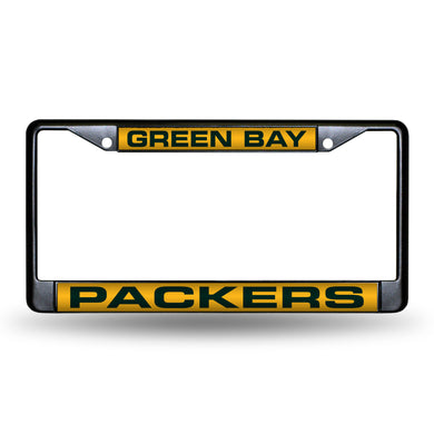 Green Bay Packers Black Laser Chrome License Plate Frame
