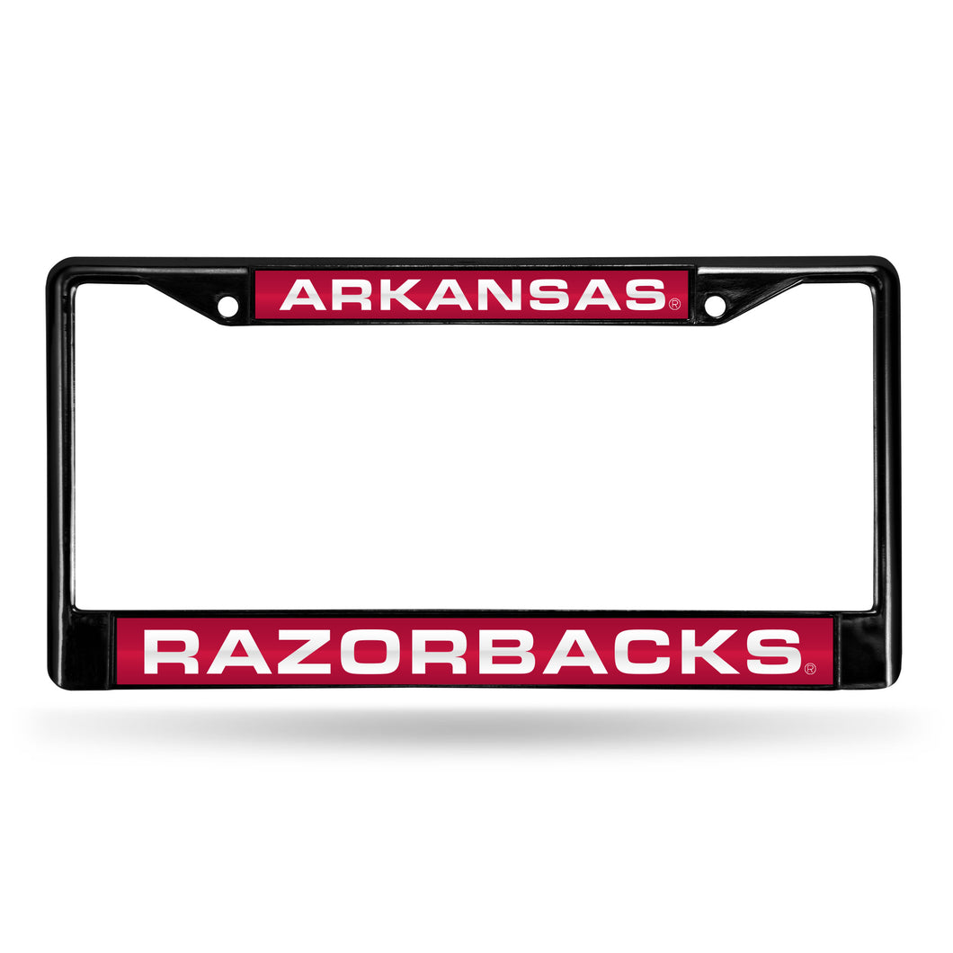 Arkansas Razorbacks Black Laser Chrome License Plate Frame