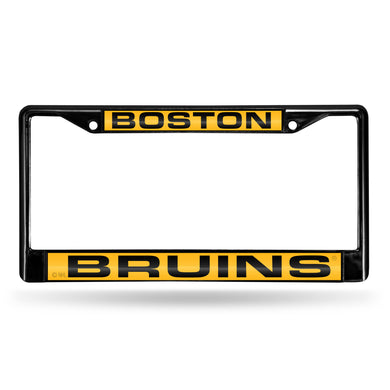 Boston Bruins Black Laser Chrome License Plate Frame