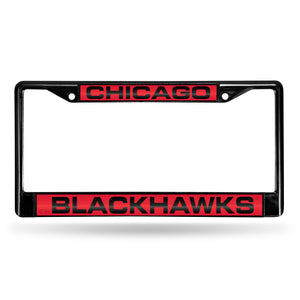 Chicago Blackhawks Black Laser Chrome License Plate Frame