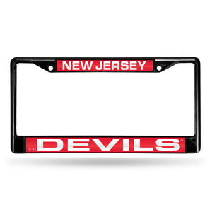 New Jersey Devils Black Laser Chrome License Plate Frame